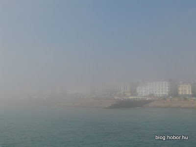 BRIGHTON, East Sussex, UK - The coast from the Pier (in haze:-)