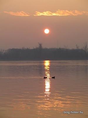 Sunset on the Danube (Duna), DUNAKESZI, Hungary